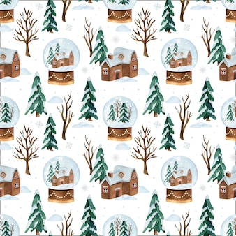 Christmas watercolor vector seamless pattern with snow globe