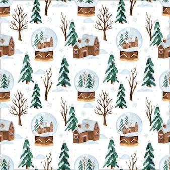スノードームとクリスマス水彩ベクトルシームレスパターン