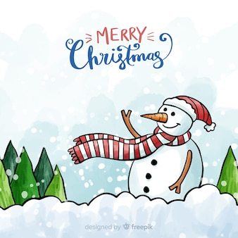 Christmas watercolor waving snowman background