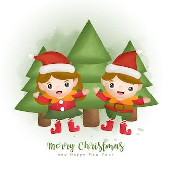 グリーティングカード、招待状、紙、包装、クリスマスツリーとエルフのクリスマス水彩冬