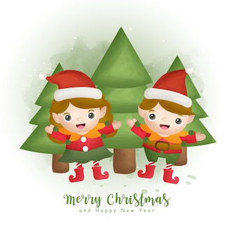 Christmas watercolor winter with christmas tree and elf  for greeting cards, invitations, paper, packaging,