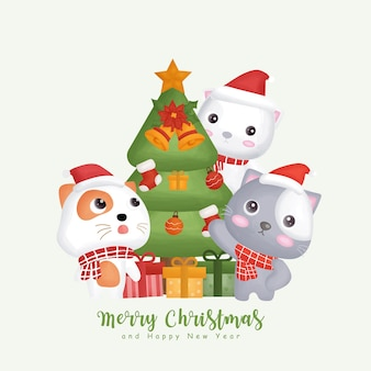 Christmas watercolor winter with a cute cats and christmas elements. Premium Vector