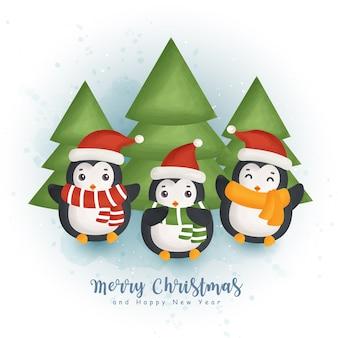 かわいいペンギンとグリーティングカード、招待状、紙、包装、クリスマスデザインのクリスマス要素とクリスマス水彩冬。