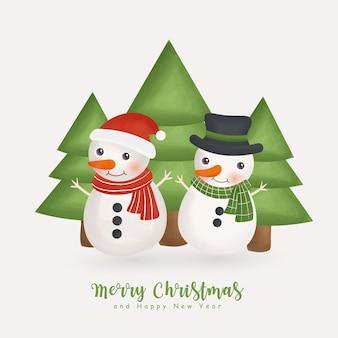 かわいい雪だるまとグリーティングカード、招待状、紙、包装のクリスマスツリークリスマス水彩冬。