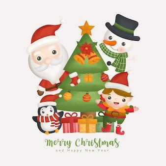 산타와 크리스마스 요소와 크리스마스 수채화 겨울입니다. 인사말 카드, 크리스마스 디자인.