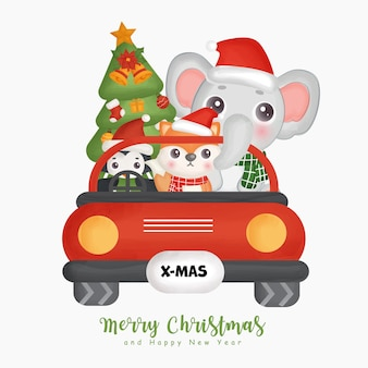 크리스마스 귀여운 동물과 인사말 카드, 초대장, 종이, 포장 크리스마스 요소와 크리스마스 수채화.