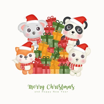 Christmas watercolor with christmas cute animals and giftboxes for greeting cards, invitations, paper, packaging.