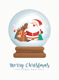 Christmas watercolor with cute santa clause in snow globe.