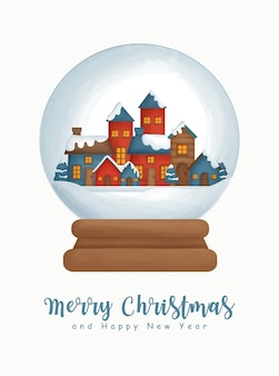 Christmas watercolor with the  snow village in snow globe for greeting card new year greeting card .