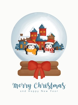 Christmas watercolor with the snow village in a snow globe for greeting card new year greeting card .