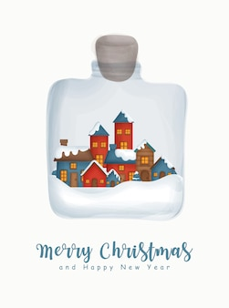 인사말 카드 새 해 인사말 카드에 대 한 항아리에 눈 마을 크리스마스 수채화.