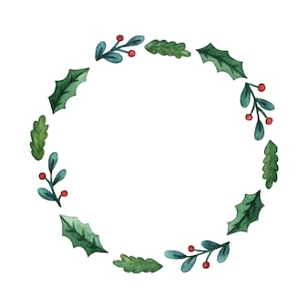 Christmas watercolor wreath of fir twigs and mistletoe leaves