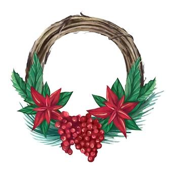 クリスマスの装飾が施されたクリスマスの水彩画の花輪ベクトルイラスト