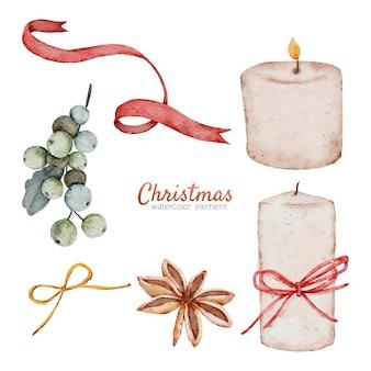 クリスマス水彩要素手描き