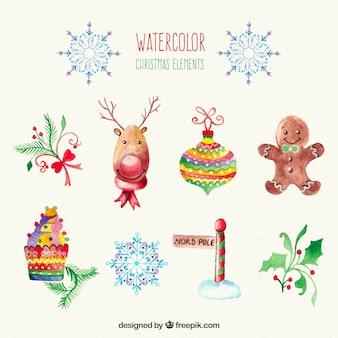 Christmas watercolour elements