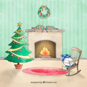 크리스마스 수채화 벽난로 장면