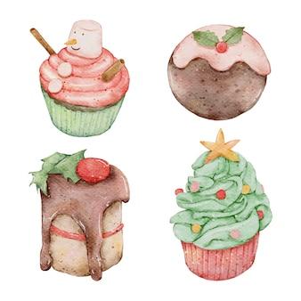 クリスマス水彩手描きカップケーキ