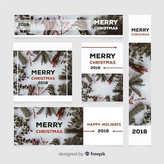 Рождественская коллекция веб-баннеров с цветочным венком