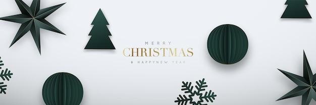 Рождественский веб-баннер зеленые бумажные шары оригами