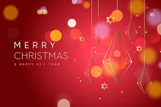 Christmas web banner with gold crystal geometric decoration vector image