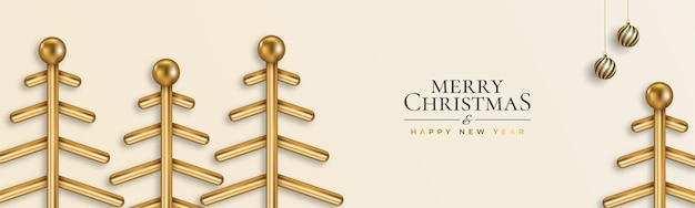 Christmas website banner with decorations christmas tree  3d