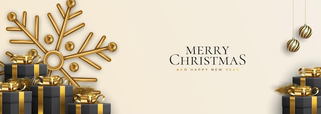 Christmas website banner with decorations snowflakes  3d