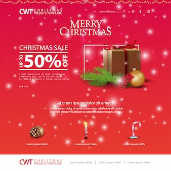 Christmas website template with Christmas gifts