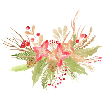 Christmas wedding bouquet floral element, botanical arrangement winter design