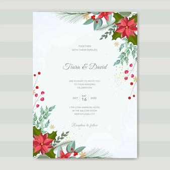 Christmas wedding invitation template