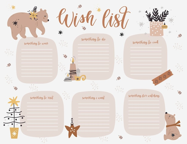 Christmas weekly planner page template, wish list with cute bears, twigs in cartoon style