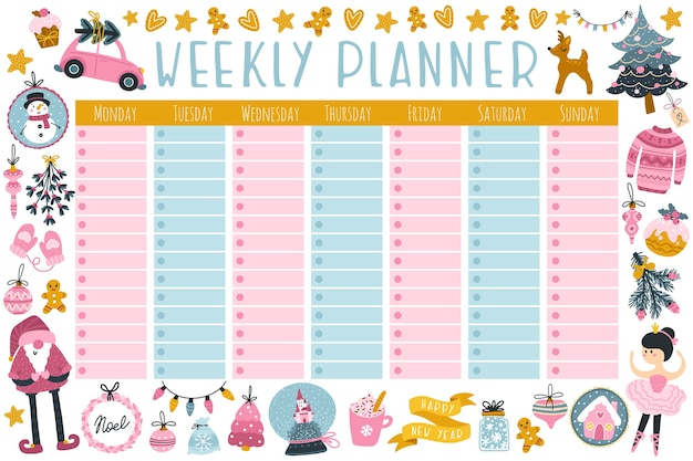 Christmas weekly planner with cute characters and holiday items.