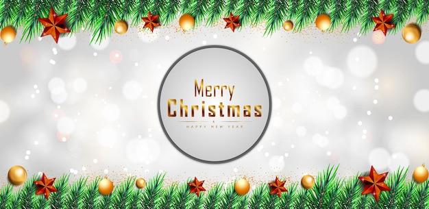 Рождественская открытка на белом фоне с золотыми пузырями и звездами вектор