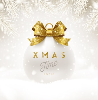 Christmas white bauble with glitter gold bow ribbon and type design