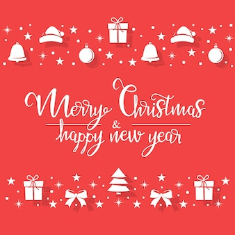 Рождественские белые символы случайным образом расположены на красном фоне в виде полос.