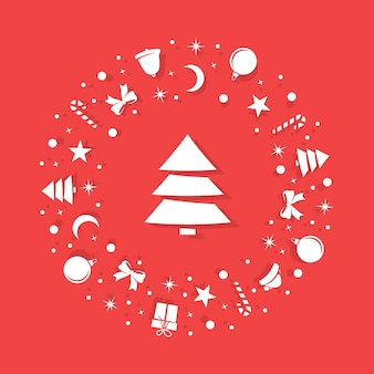 Christmas white symbols are randomly arranged on a red background in the form of a circle.