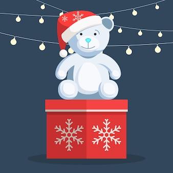 クリスマスの白いテディベア Premiumベクター
