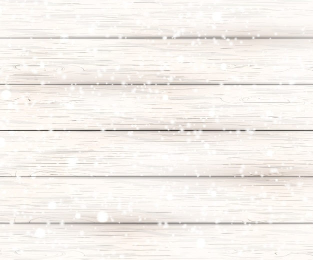 Christmas white wooden background with holiday falling shiny snow. view with copy space. illustration.