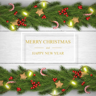 Christmas on white wooden background with wishes