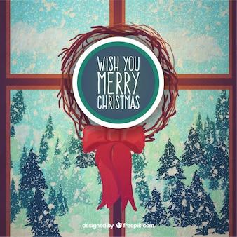 クリスマスのウィンドウの背景