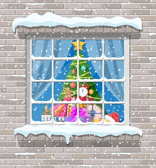 Christmas window in brick wall illustration