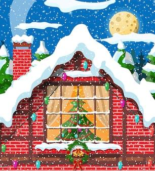 レンガの壁のイラストのクリスマスウィンドウ