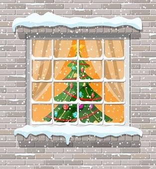 벽돌 벽에 크리스마스 창입니다. 크리스마스와 함께 거실. 새해 복 많이 받으세요 장식. 메리 크리스마스 휴일. 새해와 크리스마스 축하. 일러스트 플랫 스타일