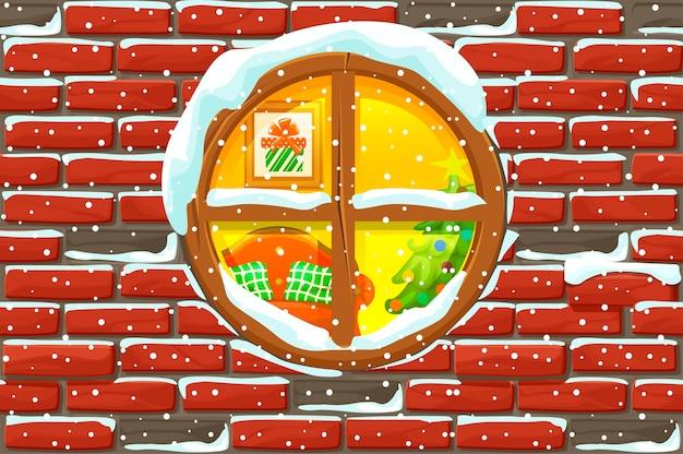 돌 벽에 크리스마스 창입니다. 메리 크리스마스 휴일. 새해와 크리스마스 휴가. 일러스트 배경