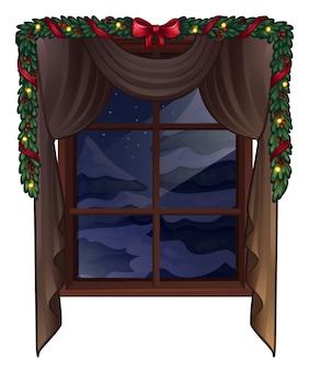 白で隔離のクリスマスウィンドウ。図