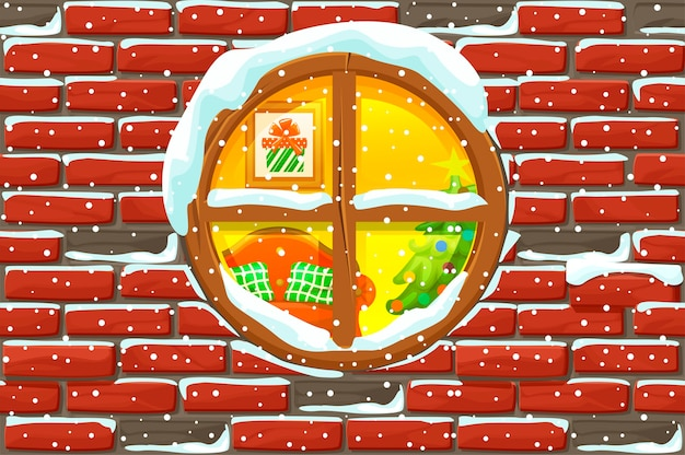 Christmas window in stone wall. merry christmas holiday. new year and xmas holiday. illustration background
