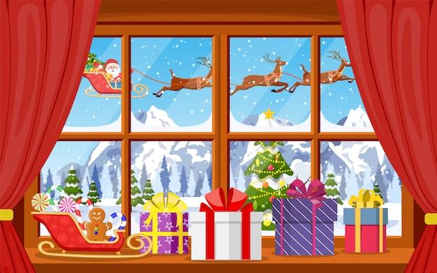 Рождественский вид из окна со снежным пейзажем