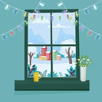 Рождественское окно с зимним пейзажем.