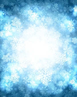 Christmas winter background magic snow sparkles lights and snowflakes
