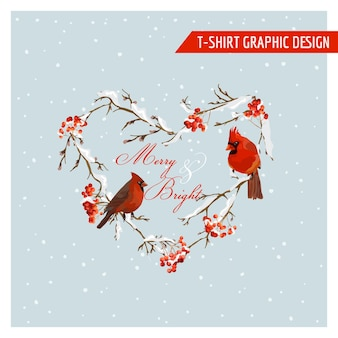 クリスマス冬の鳥とベリーのグラフィックデザイン