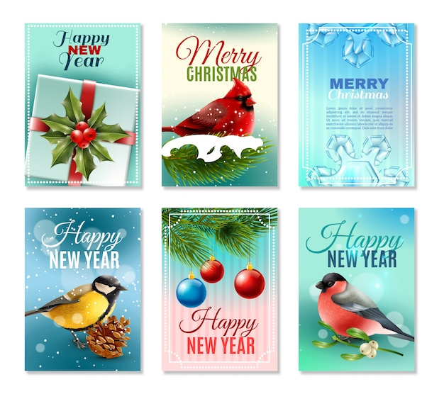 Christmas winter cards set